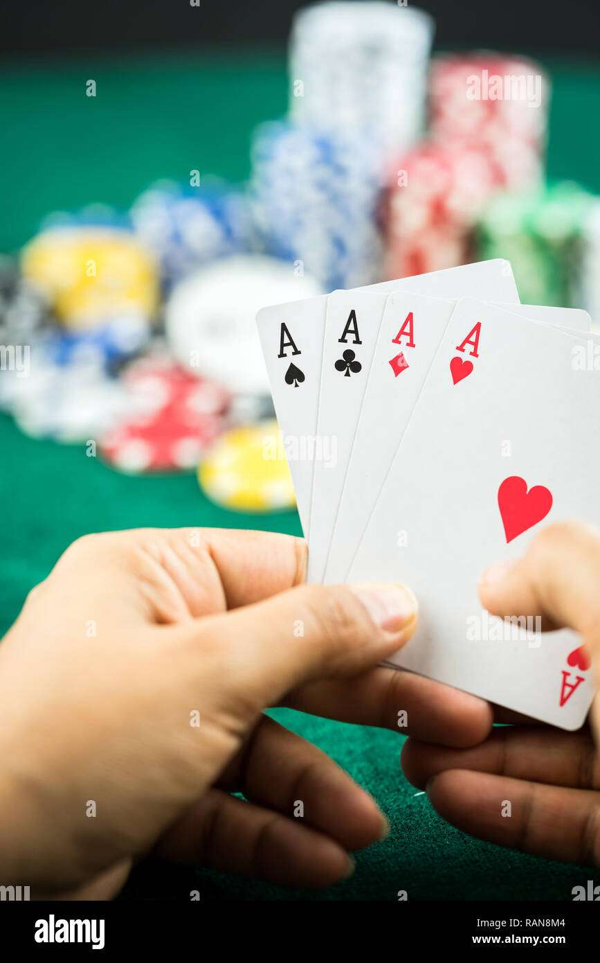 Gambling Poker Blackjack Cards Hand Shown and Dices Photo - Stock Image
