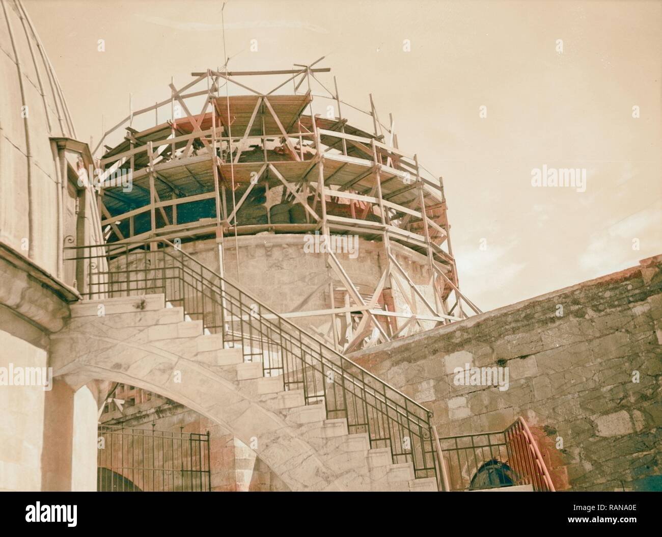 Dome over Greek Orthodox Cathedral braced for reinforcement 1934, Middle East. Reimagined by Gibon. Classic art with reimagined - Stock Image