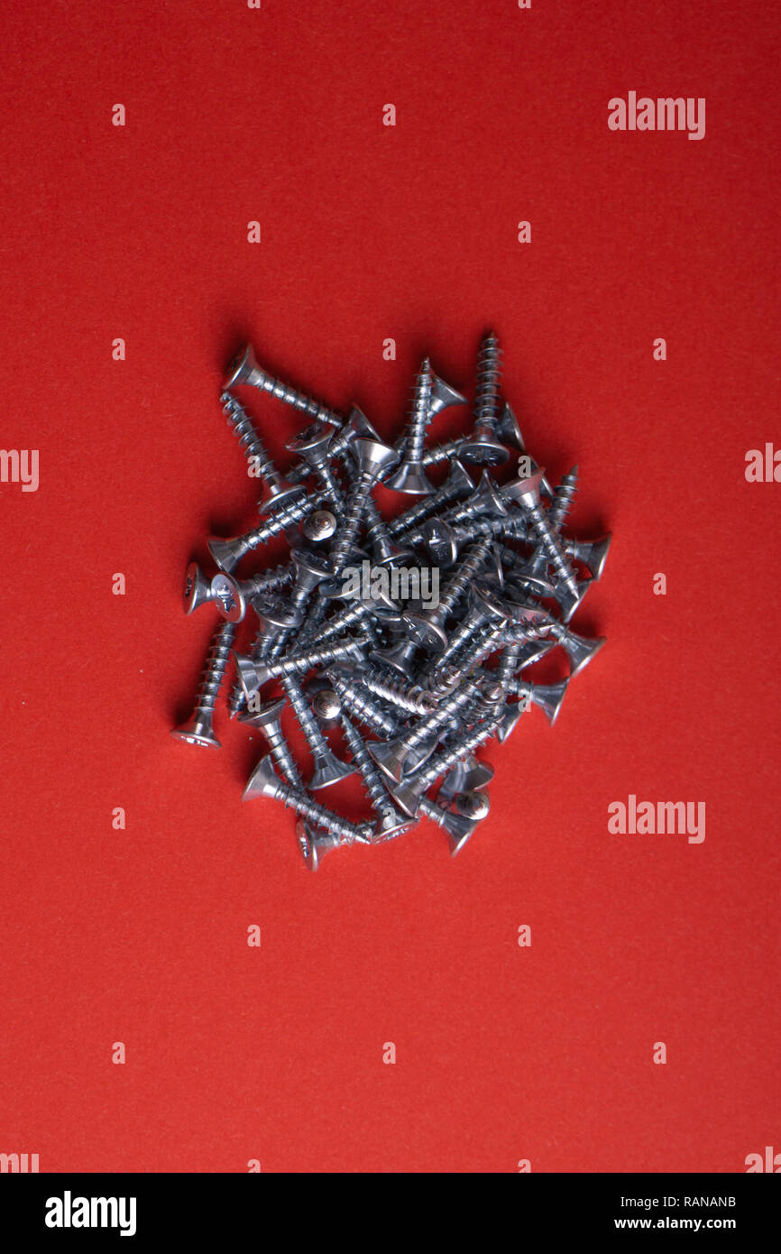 Self-tapping Screws - Perfect for Metal, Plastic and Wood Work. - Stock Image