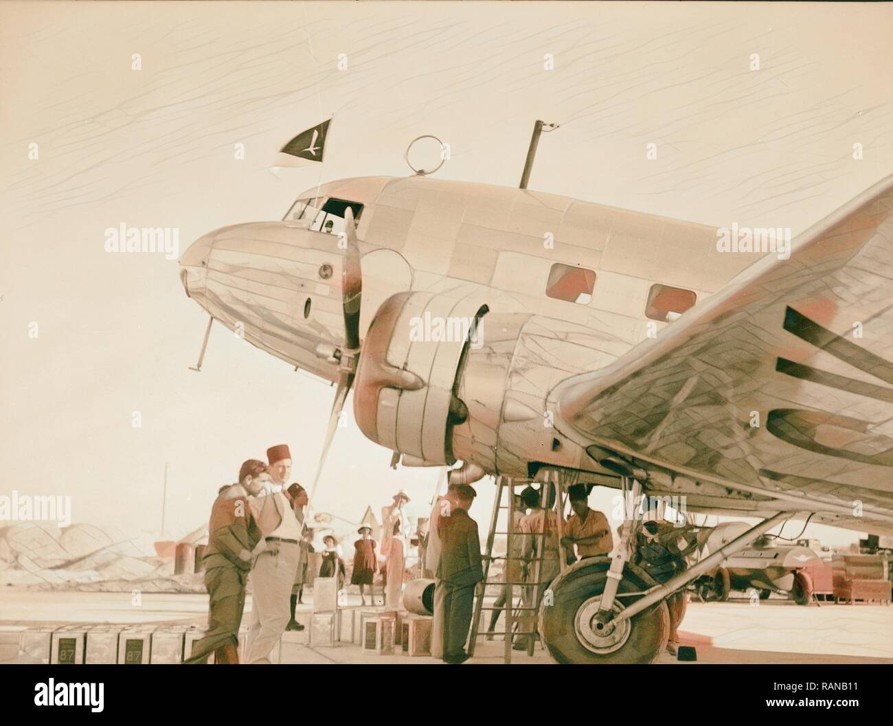 Aeroplanes on Lydda Air Port. 1934, Israel, Lod. Reimagined by Gibon. Classic art with a modern twist reimagined - Stock Image