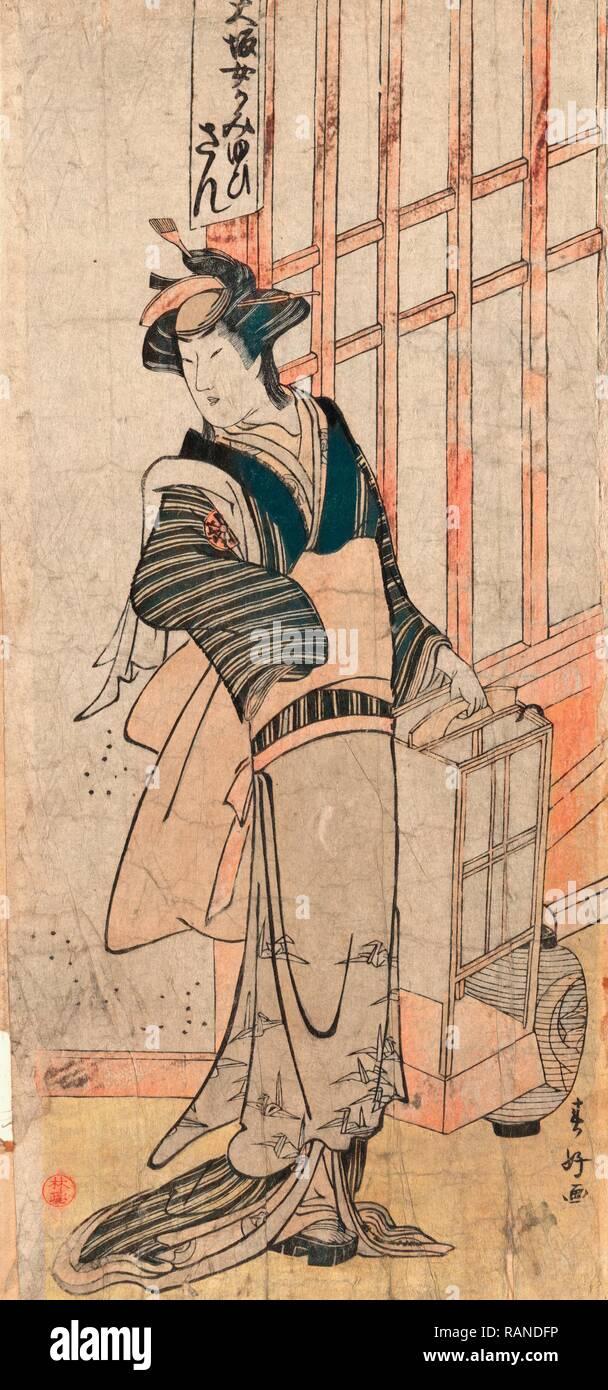 Mimasu Tokujiro No San, Mimasu Tokujiro in the Role of San. [178-], 1 Print: Woodcut, Color, 31 X 14.4, Ukiyo-E Actor reimagined - Stock Image