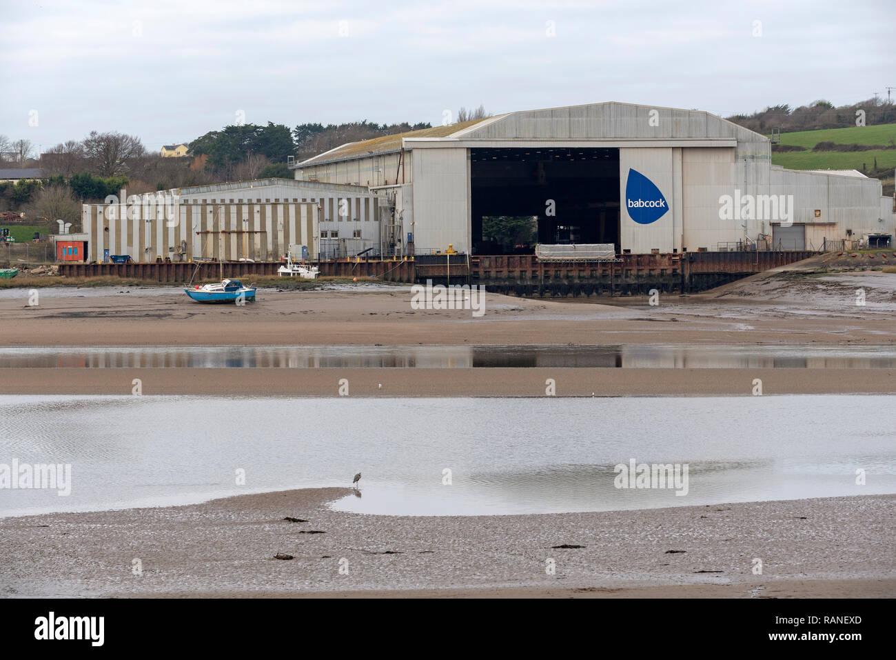 The Babcock international Group Marine Division shipyard on the River Torridge, at Appledore, North Devon, England, UK Stock Photo
