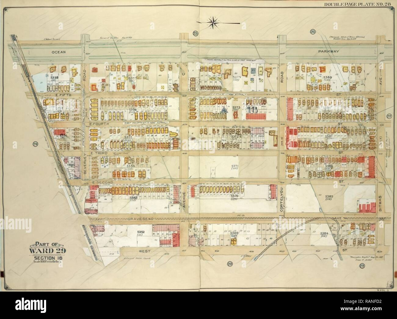 Brooklyn, Vol. 5, Double Page Plate No. 28, Part of Ward 29, Section 16, Map bounded byOcean Parkway, Ditmas Ave reimagined Stock Photo