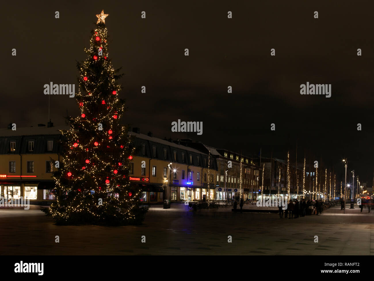 Umea Sweden On December 18 2018 Evening View Of The City Centre