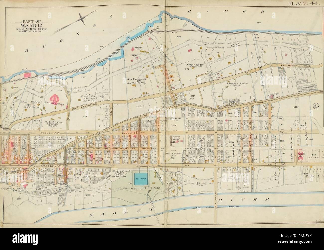 Map Of New York Harlem.Manhattan Double Page Plate No 44 Map Bounded By Hudson River