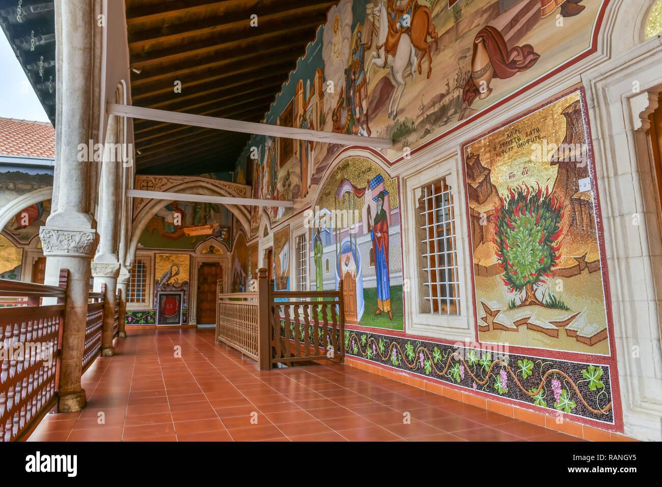 Way, painting, mosaics, cloister of Kykkos, Cyprus, Gang, Malerei, Mosaiken, Kloster Kykkos, Zypern - Stock Image