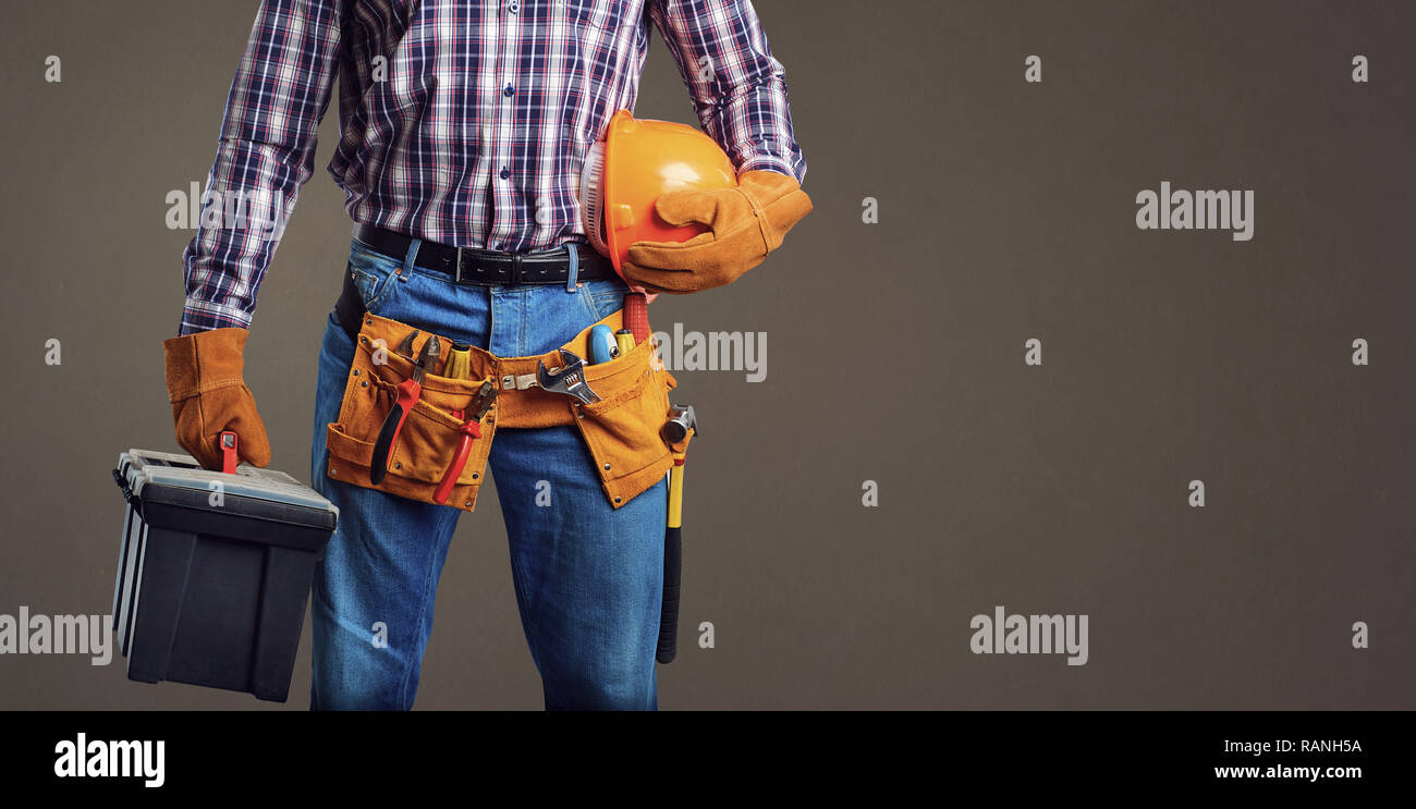 Crop foreman with box of tools - Stock Image