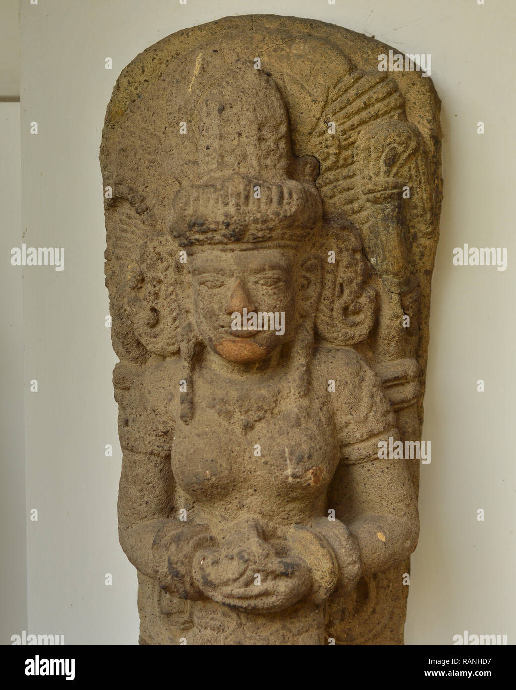 Arca or statue of Dewi Parwati found in central Java 8-10th century - Stock Image