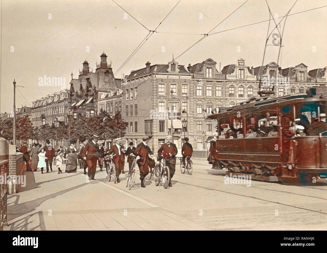 Tram 3 and passers-by on the New Amstelbrug given direction Ceintuurbaan, The Netherlands, Anonymous, c. 1903 - c reimagined - Stock Image