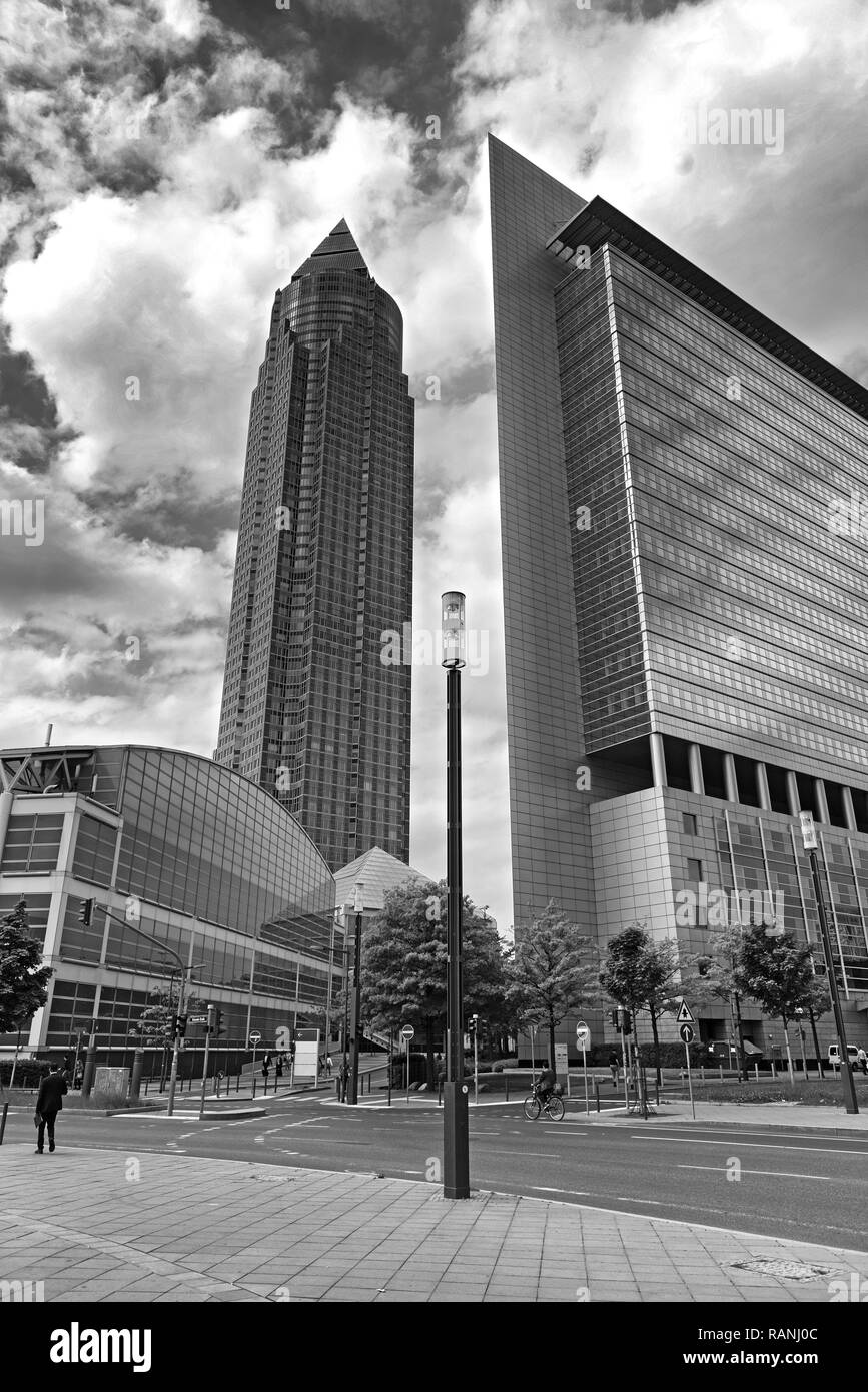 the trade fair tower in black and white, frankfurt am main Stock Photo