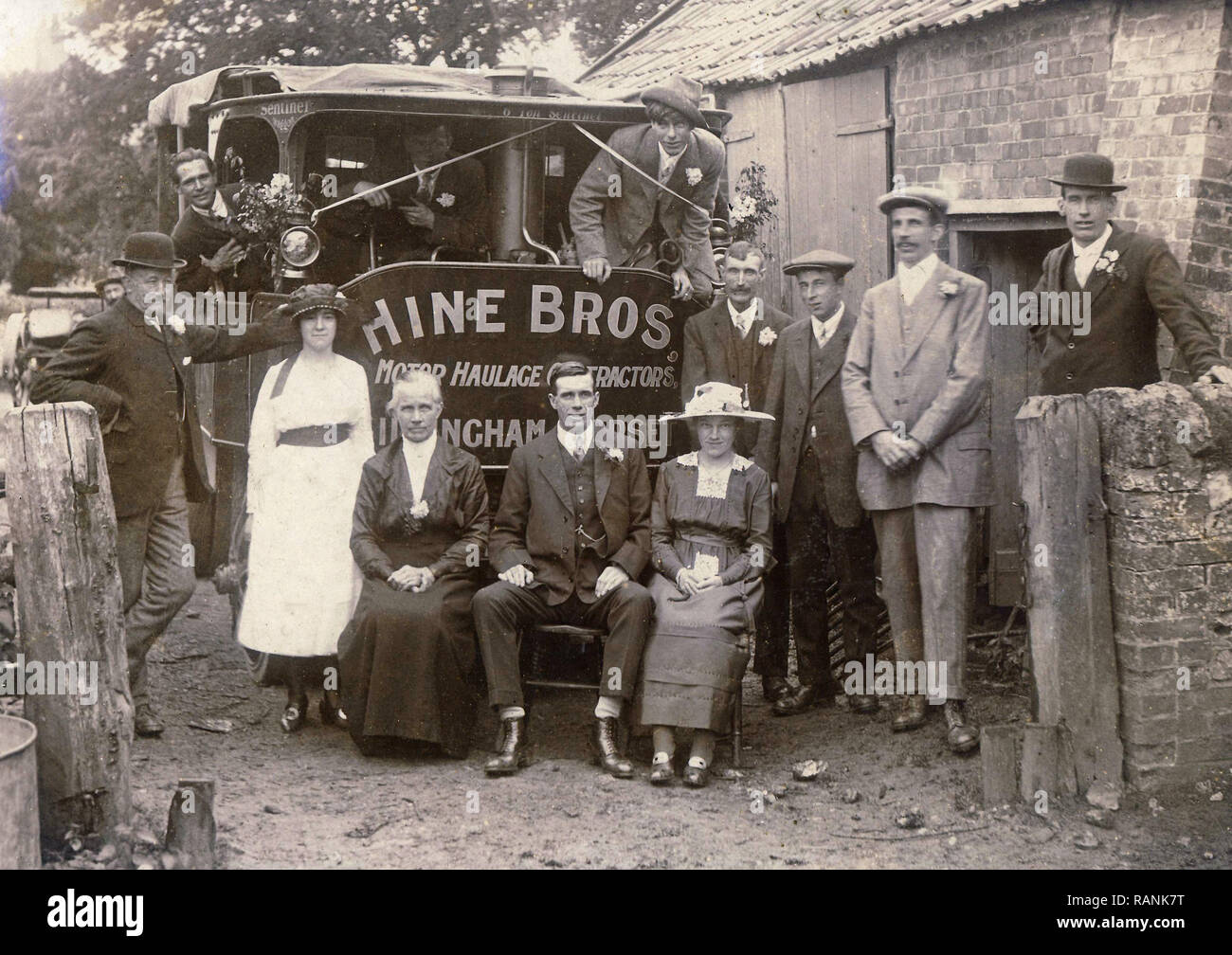 Historical Archive Image of wedding party posing with Sentinel 6-ton steam waggon. Waggon belonging to Hine Bros of Gillingham, Dorset - Stock Image
