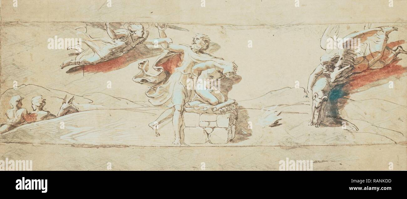 drawing Raphael from Windsor Castle, Abraham sacrificing Isaac, Charles Thurston Thompson, 1857. Reimagined - Stock Image