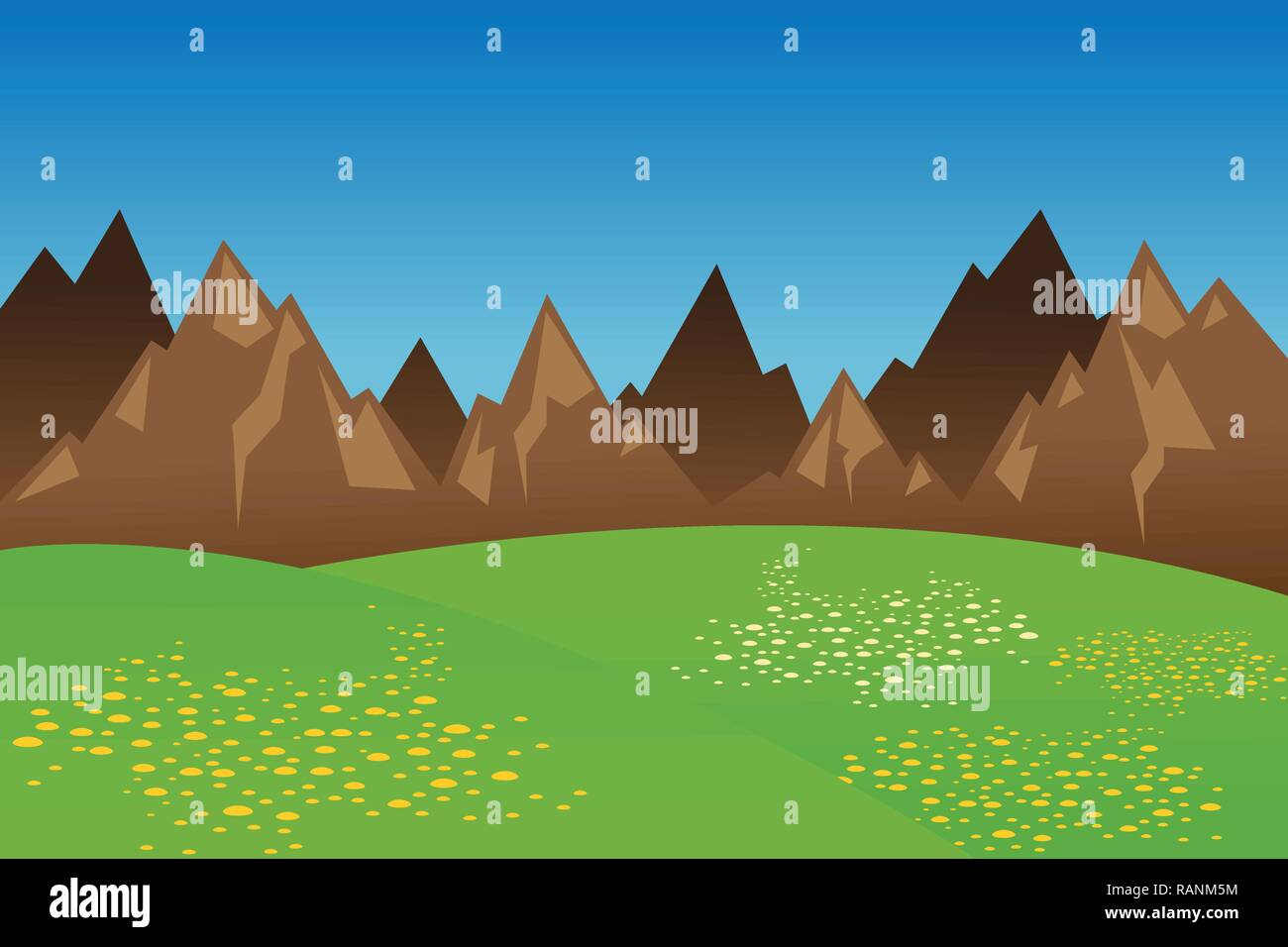 Mountain range wide green meadow with flowers vector illustration EPS10 - Stock Vector