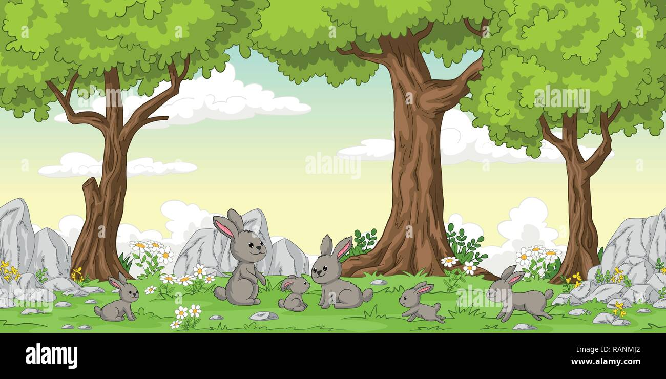 Funny cartoon rabbits and trees, hand draw illustration - Stock Vector