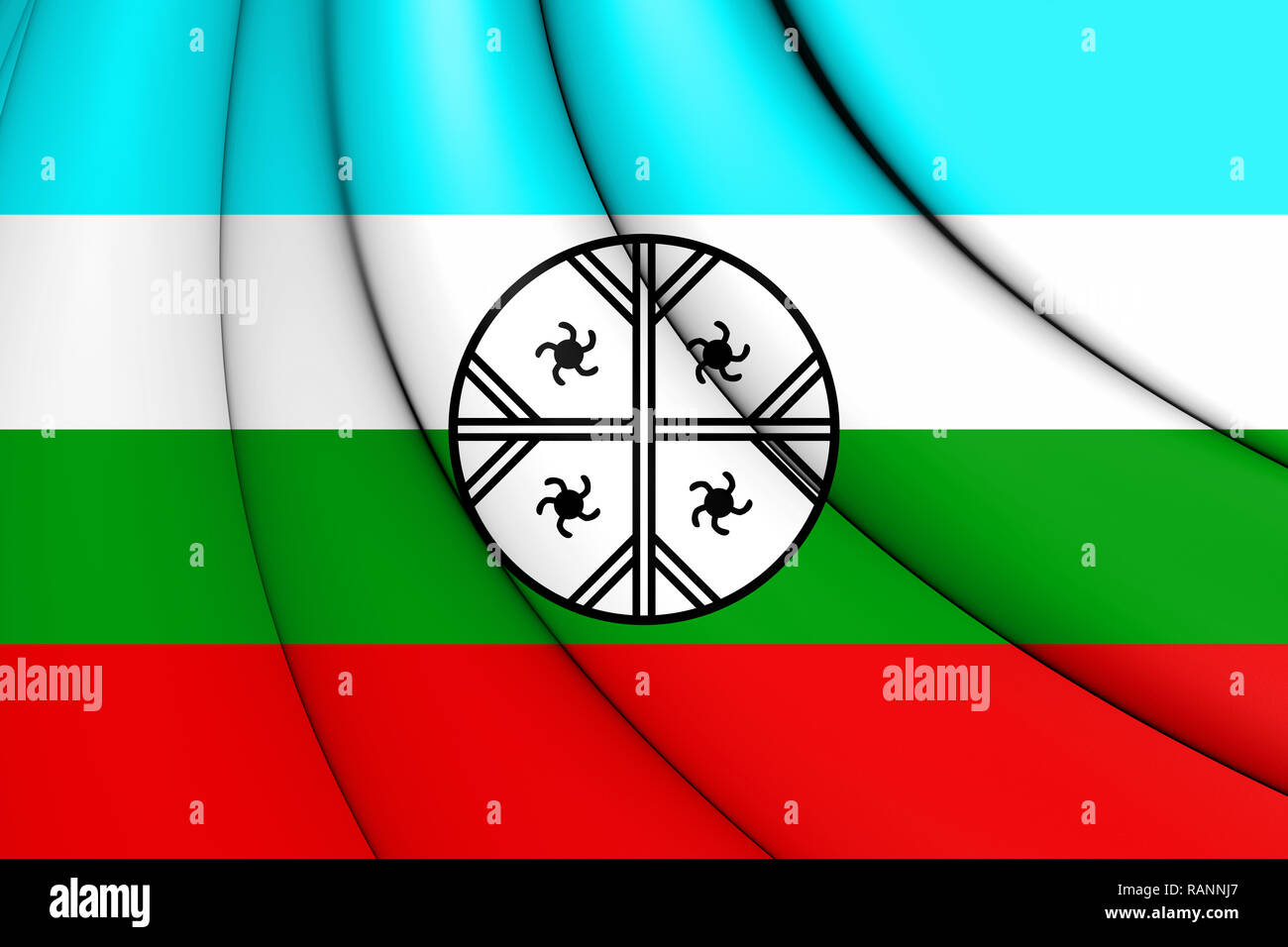 3D Mapuche Flag of Huenteche Territory. 3D Illustration. Stock Photo