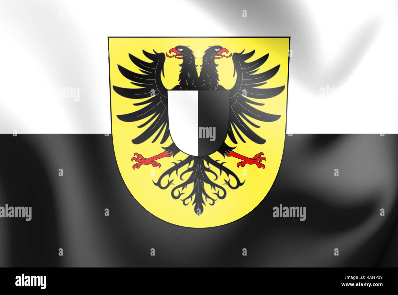 3D Flag of Friedberg (Friedberg in der Wetterau), Hesse. Germany. 3D Illustration. Stock Photo