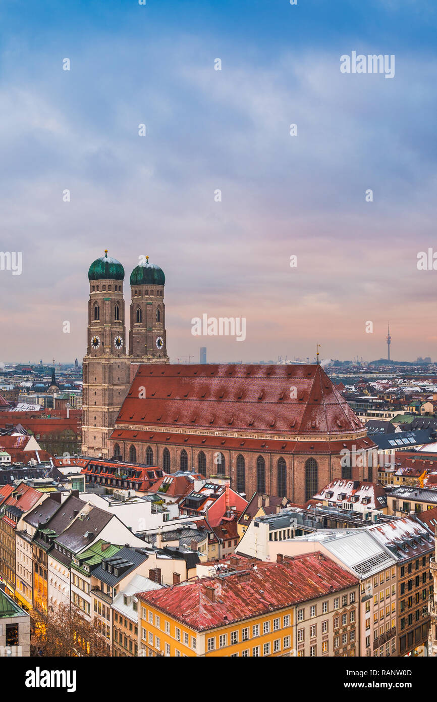 The famous Frauenkirche in Munich, Germany - Stock Image
