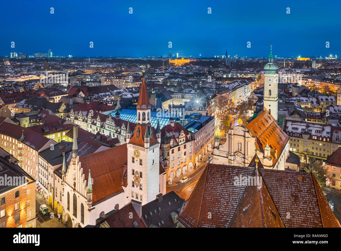 Aerial panorama of Munich city center, Germany - Stock Image