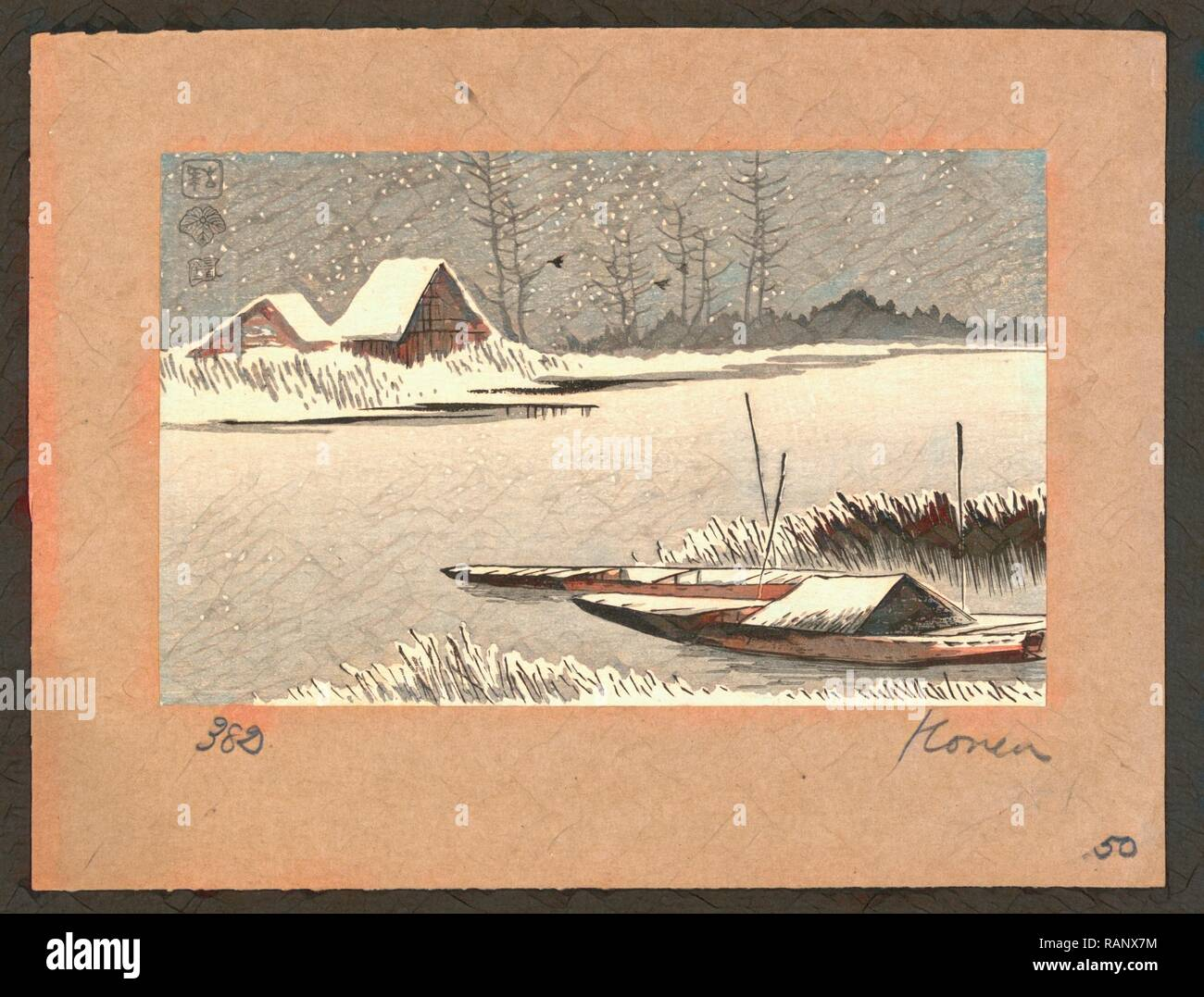 Yuki No Watashiba, Ferryboats in Snow. [Between 1900 and 1920], 1 Print: Woodcut, Color, 9.8 X 15.6, Print Shows Two reimagined - Stock Image