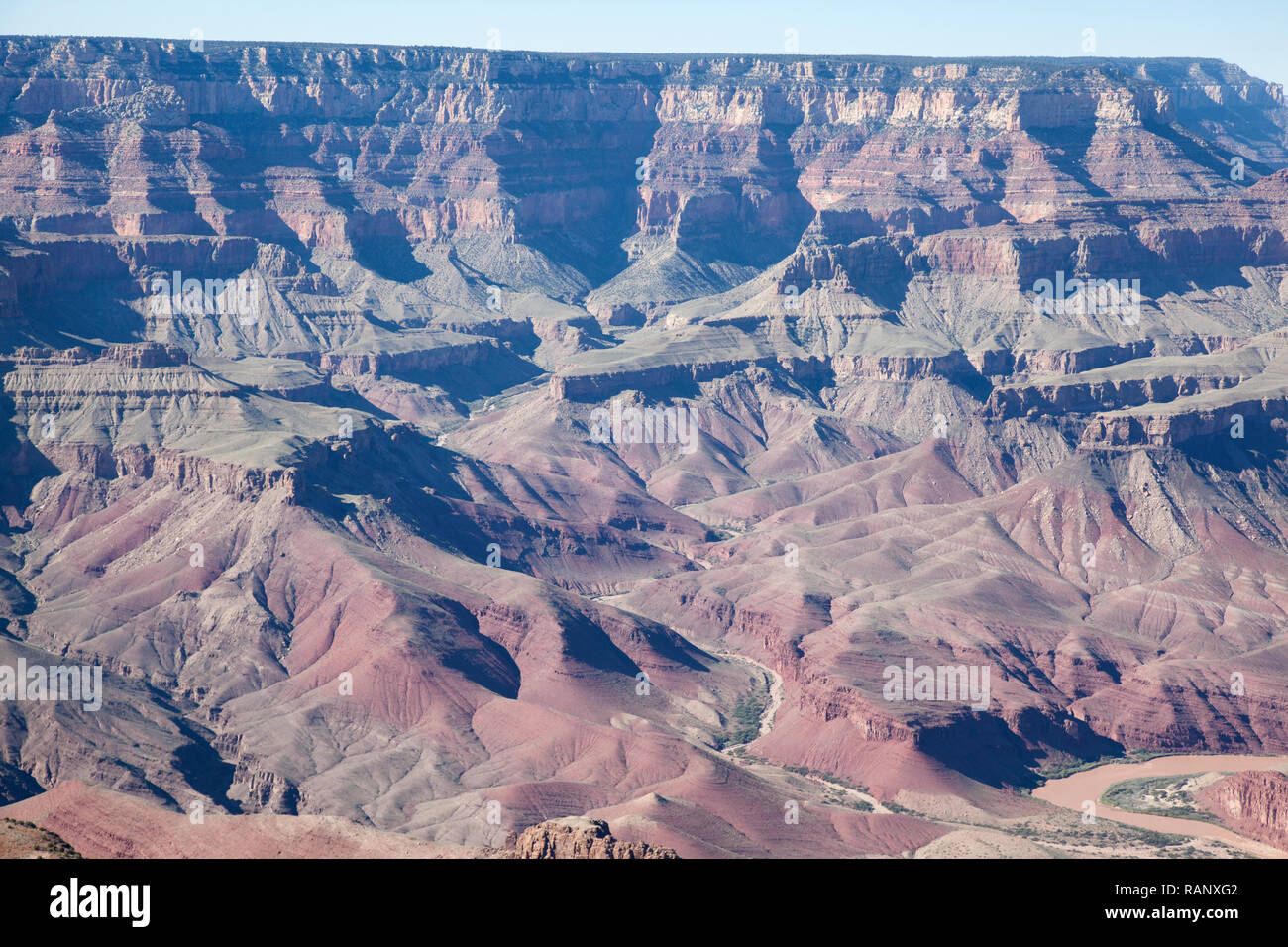 grand canyon colors and geological rock formations as seen from Lipan Point Stock Photo
