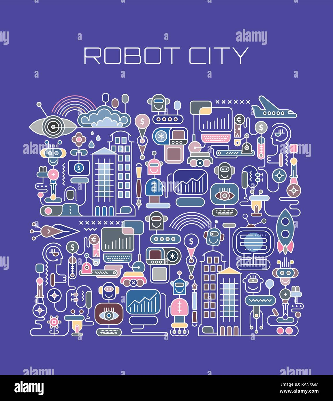 Colorful isolated on a blue background Robot City vector illustration. Welcome to the future, were funny robots will do all the boring job. City of th Stock Vector