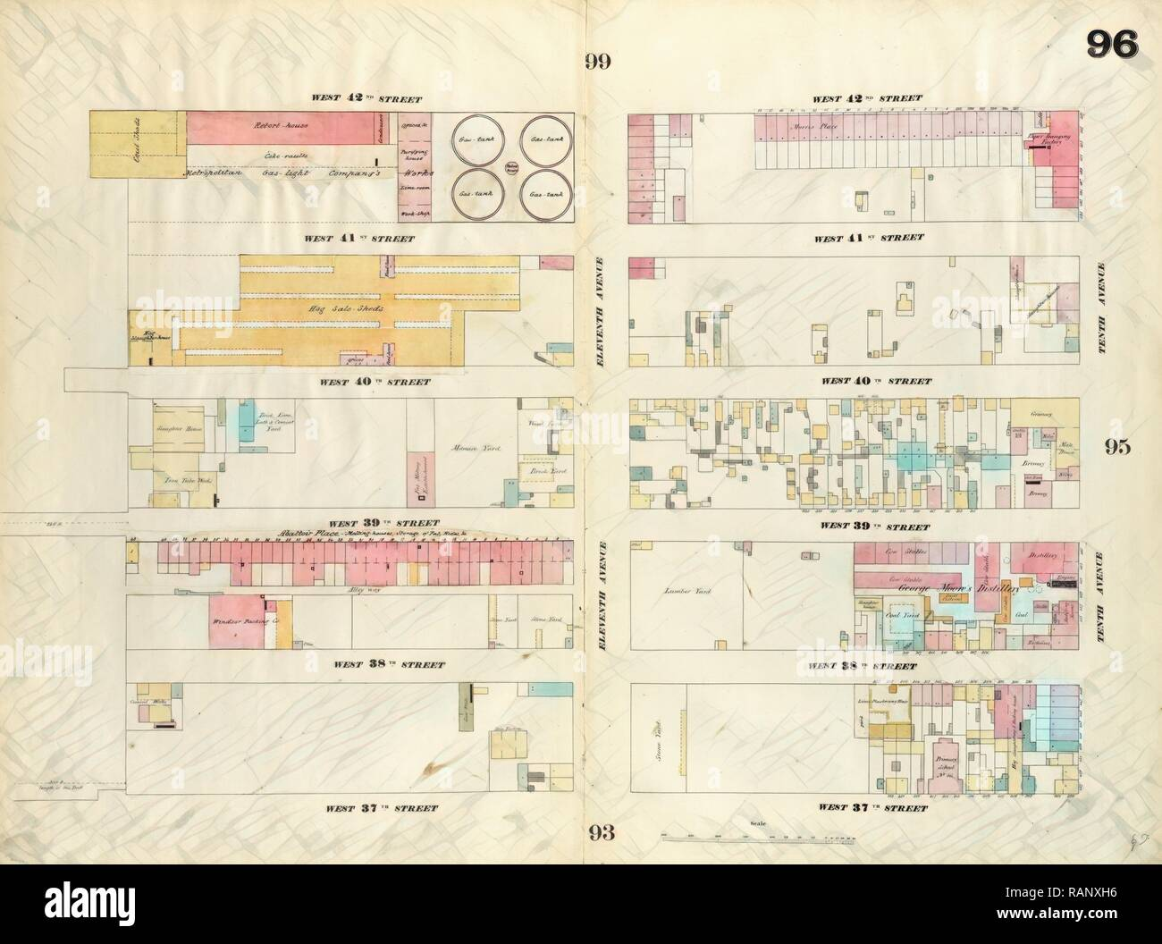 Plate 96: Map bounded by West 42nd Street, Tenth Avenue, West 37th on central park map, grand central map, chinatown map, state fair map, memphis map, new york public library map, streets of new york city map, soho map, san francisco map, sugar map, times square map, fargo map,