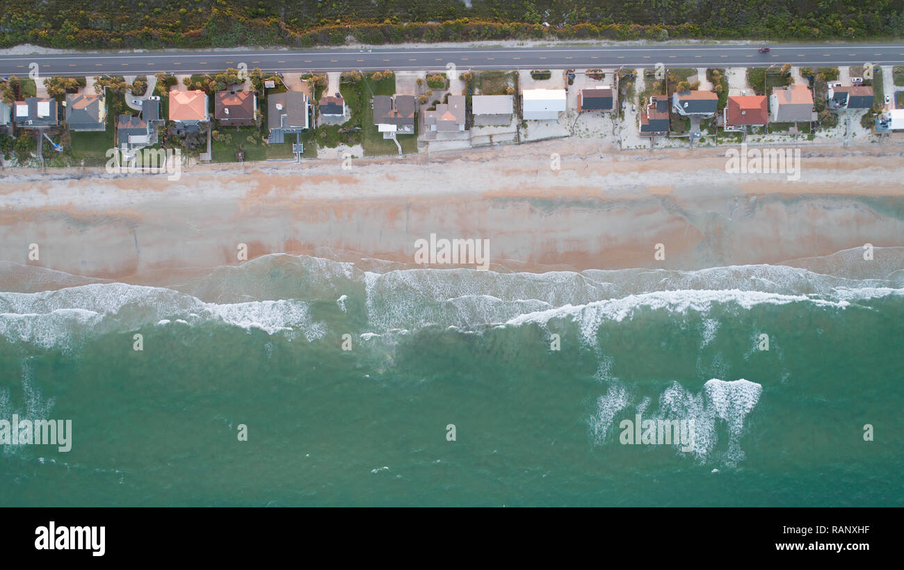 Drone Photography Green Waters Florida Beach Atlantic Coast - Stock Image