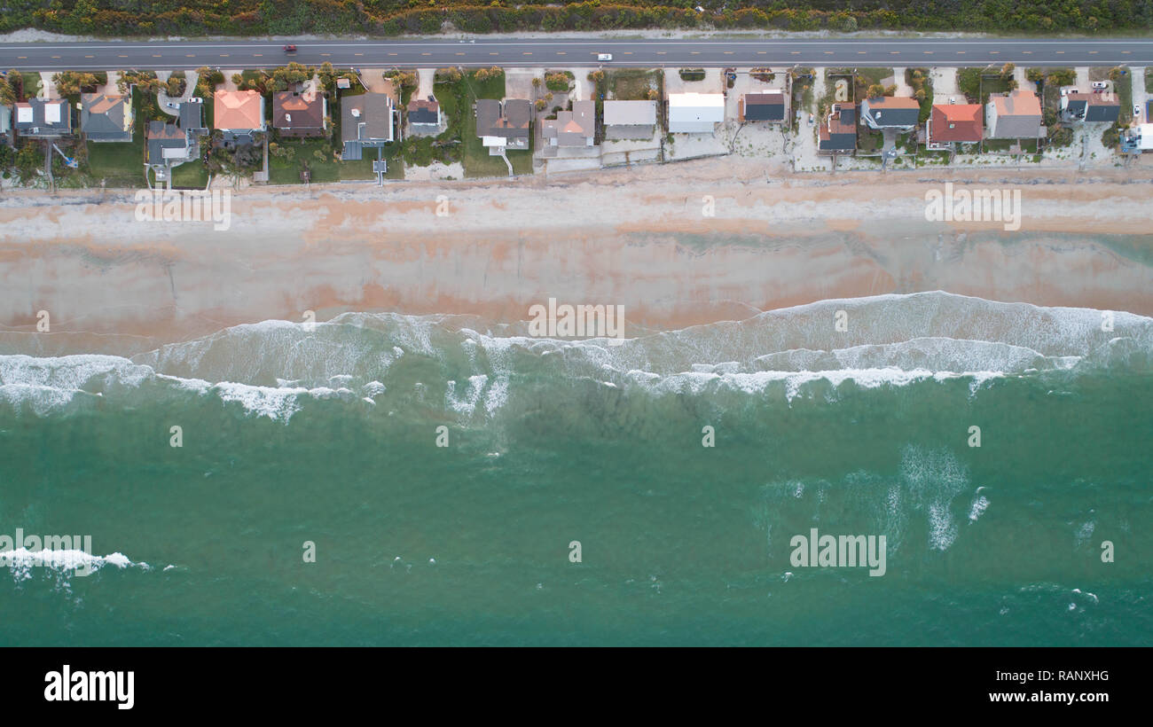 Aerial Photography Green Waters Florida Beach Atlantic Coast - Stock Image