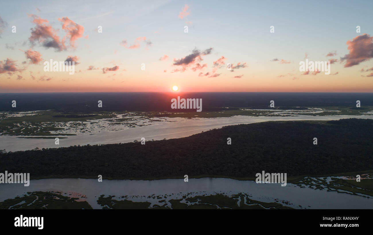 Beautiful Drone Views of Coastal Sunrise - Stock Image