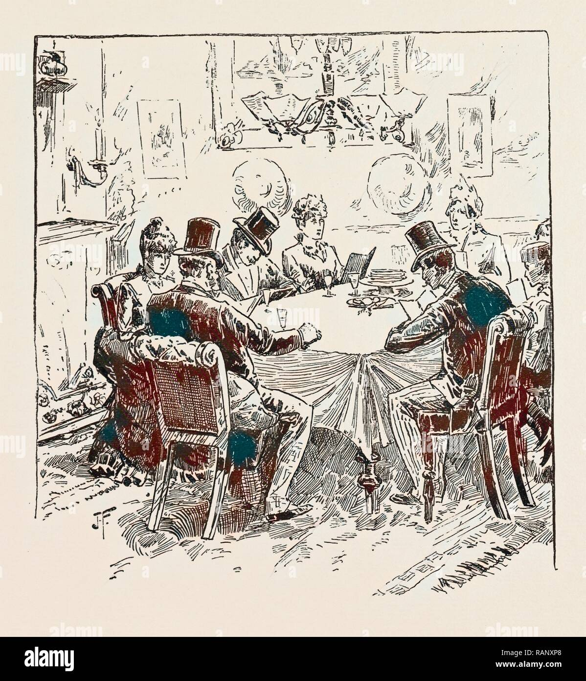 PASSOVER EVE, THE 'SEDER' SERVICE, 1889. Reimagined by Gibon. Classic art with a modern twist reimagined - Stock Image