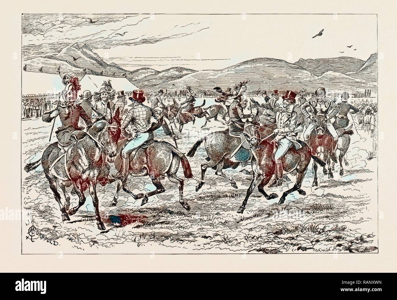 A SET OF LANCERS ON MULE-BACK IN BELUCHISTAN, INDIA 1889. Reimagined by Gibon. Classic art with a modern twist reimagined - Stock Image