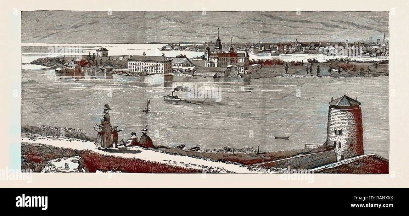 GENERAL VIEW OF WOLFE ISLAND, British naval defences, the Royal Military College at Kingston, Ontario, Canada 1889 reimagined - Stock Image