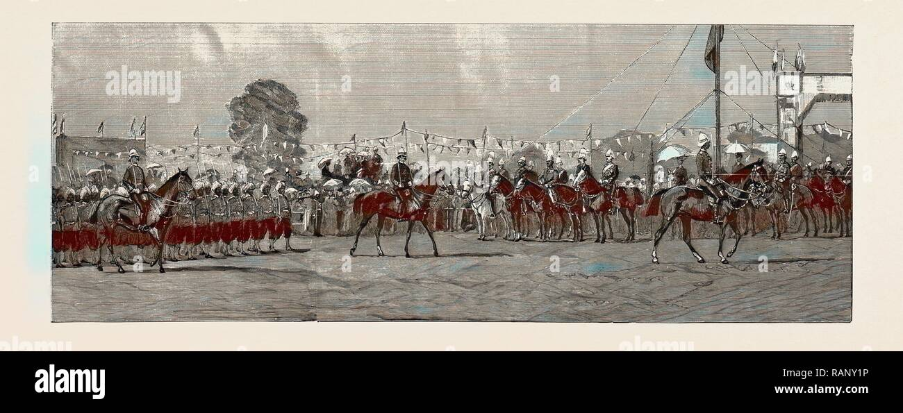 Prince Albert Victor in India: The review of European and native troops at Poona by the Prince, 1889. Reimagined - Stock Image