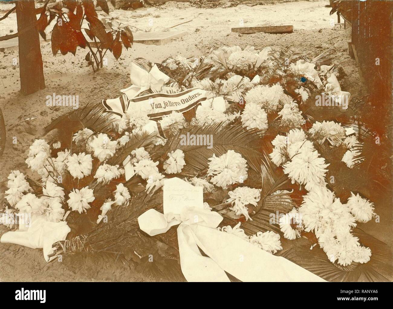 Bouquets on the grave of David Vermeulen, Anonymous, 1914 - 1920. Reimagined by Gibon. Classic art with a modern reimagined - Stock Image