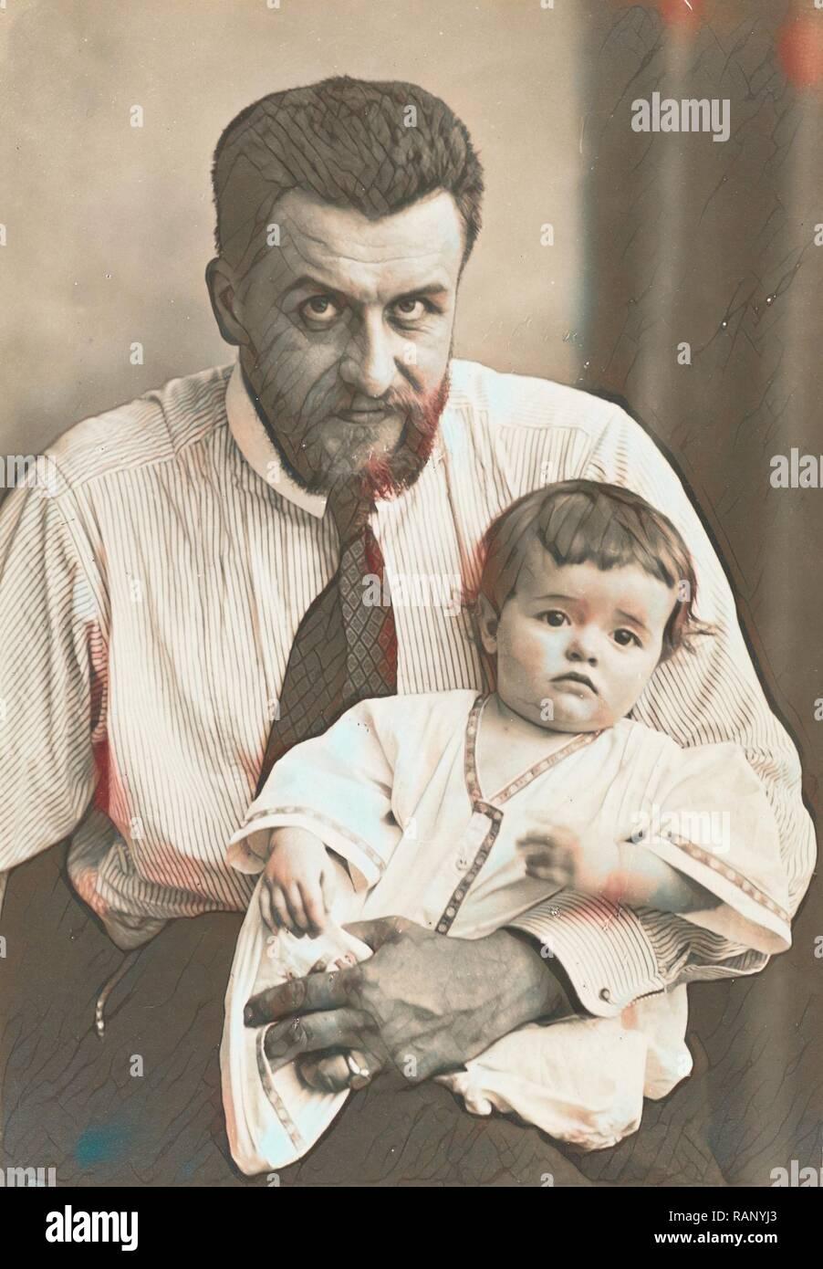 Waldemar Titzenthaler, the photographer, with his daughter Marba, Waldemar Titzenthaler, 1869 - 1937, 1912 reimagined - Stock Image