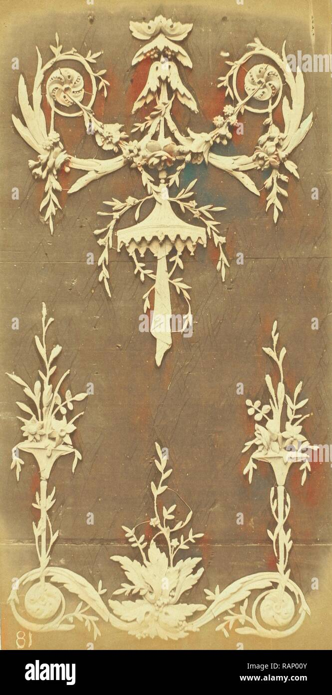 Ornaments with floral motifs, Anonymous, Thézard, c. 1870 - c. 1880. Reimagined by Gibon. Classic art with a modern reimagined - Stock Image