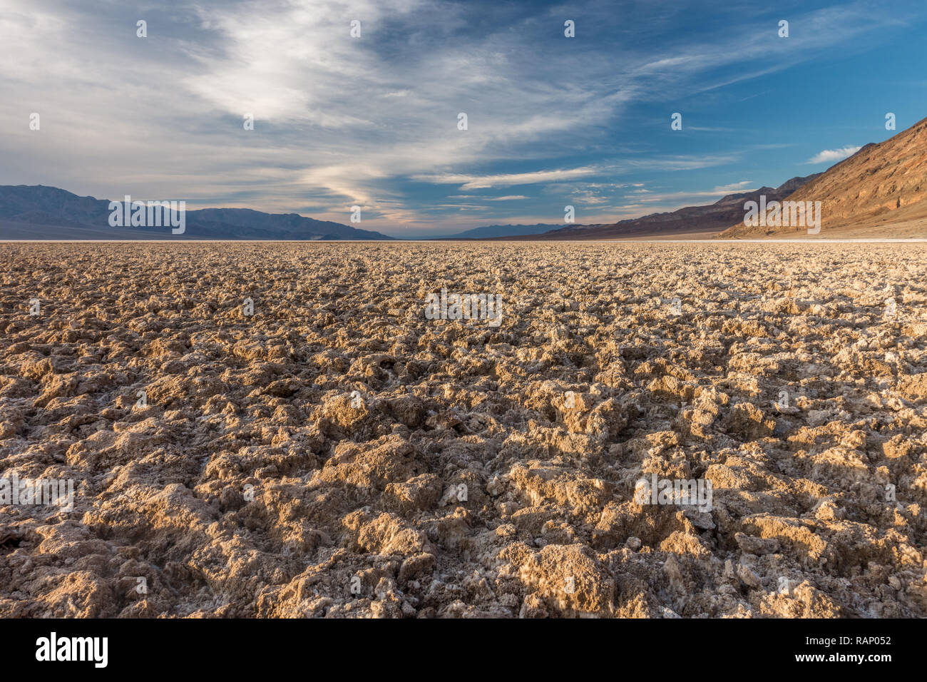 Clumps of Salt and Mud Creating a Forbidding Landscape, Badwater Basin, Death Valley National Park Stock Photo