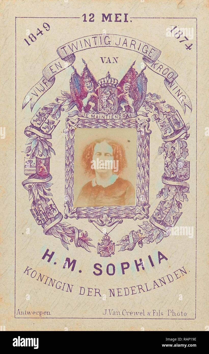 Portrait of Queen Sophie, in a lithographic border decoration, J. Van Crewel & Fils, Dating c. 1874. Reimagined - Stock Image