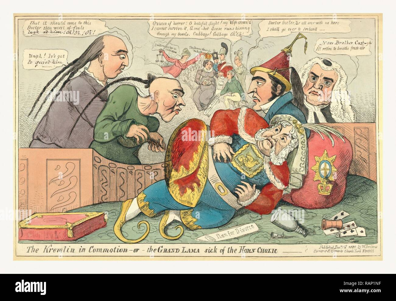 The Kremlin in commotion or the Grand Lama sick of the horn cholic, 1820, King George IV fallen to the floor, he reimagined - Stock Image