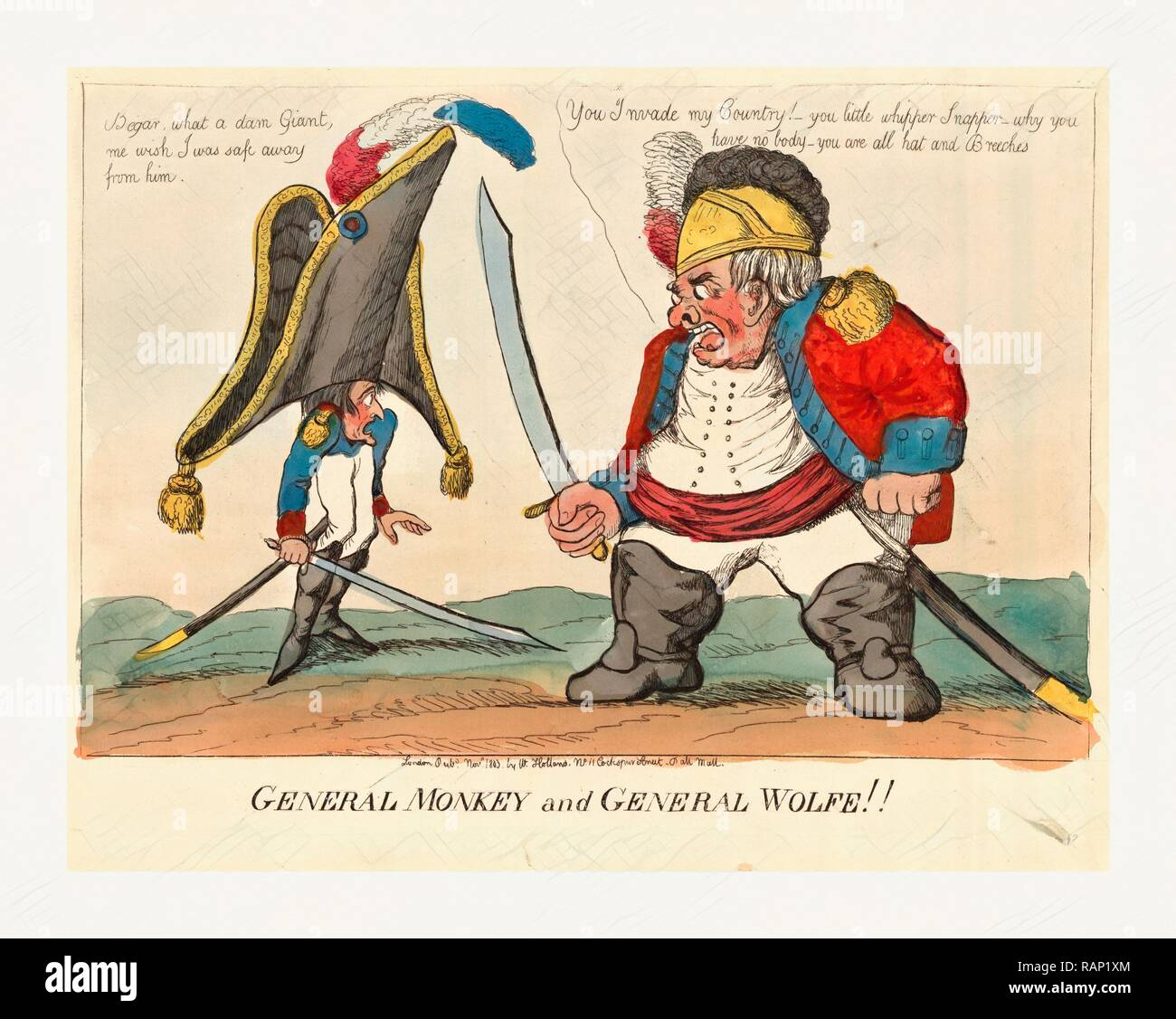 General Monkey and General Wolfe, Holland, William, active 1782-1817, engraving 1803, Napoleon I, wearing a large hat reimagined - Stock Image