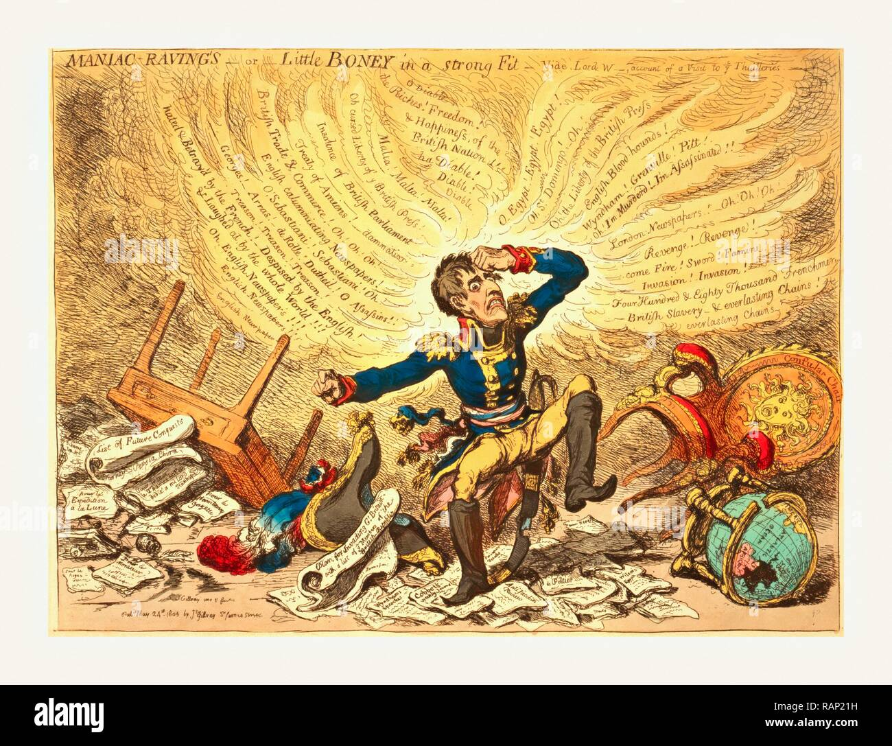 Maniac-raving's or Little Boney in a strong fit, Gillray, James, 1756-1815, engraver, London, 1803, Napoleon in a reimagined - Stock Image