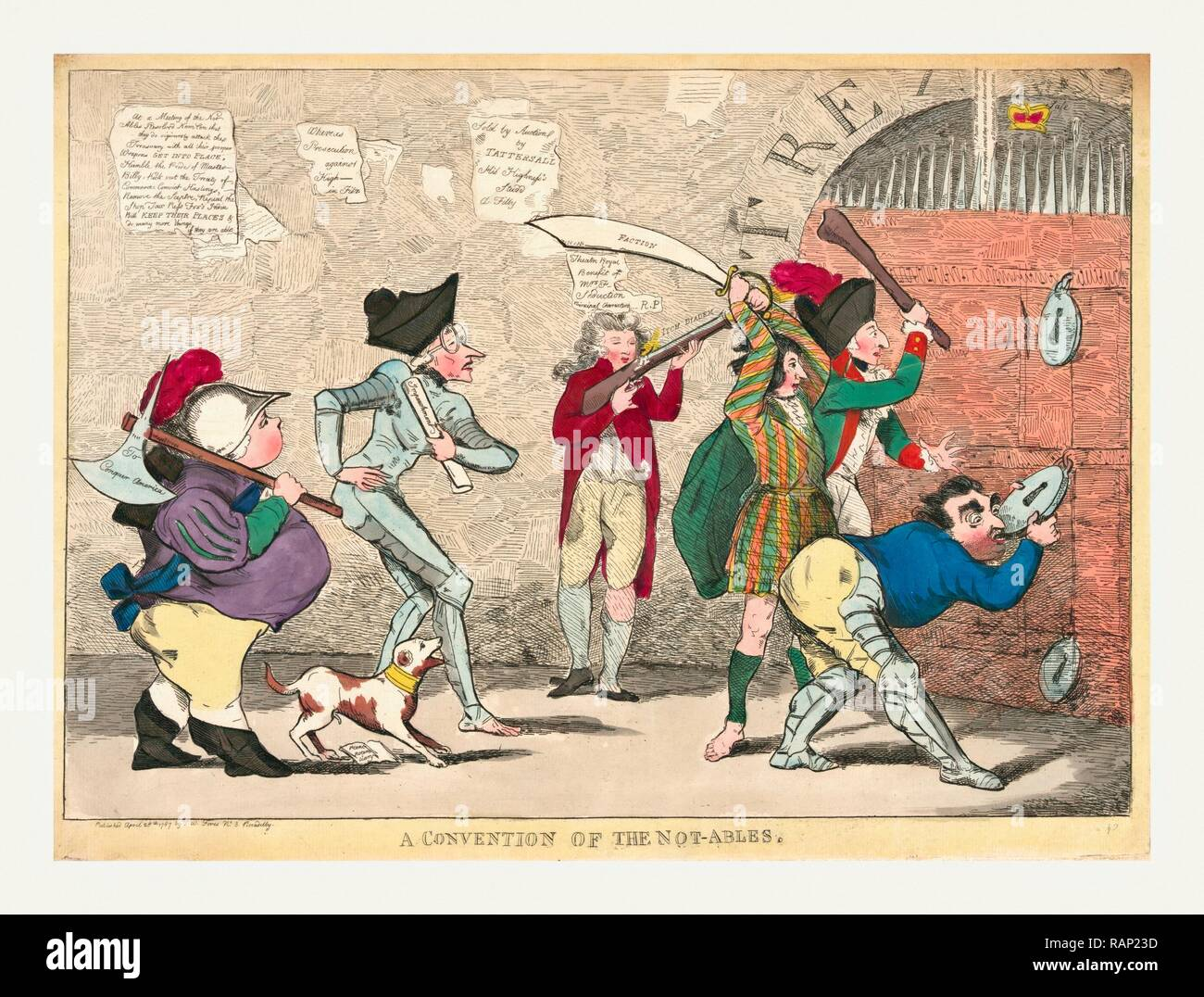 A convention of the not-ables, engraving 1787, Lord North, Edmund Burke, Charles Fox, the Prince of Wales, and others reimagined - Stock Image