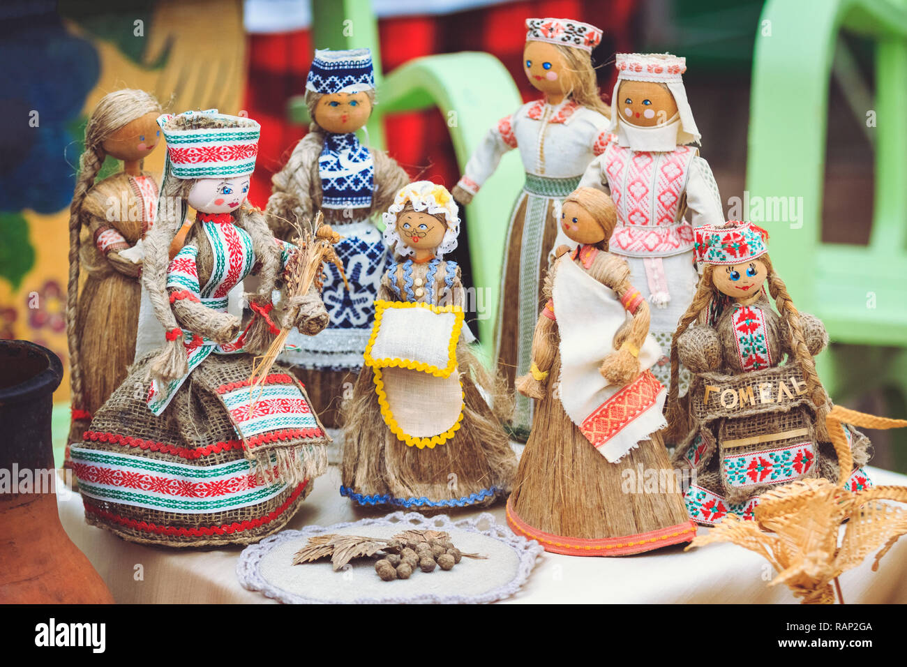 Dolls souvenirs with national patterns of Belarus from rags and straw - Stock Image