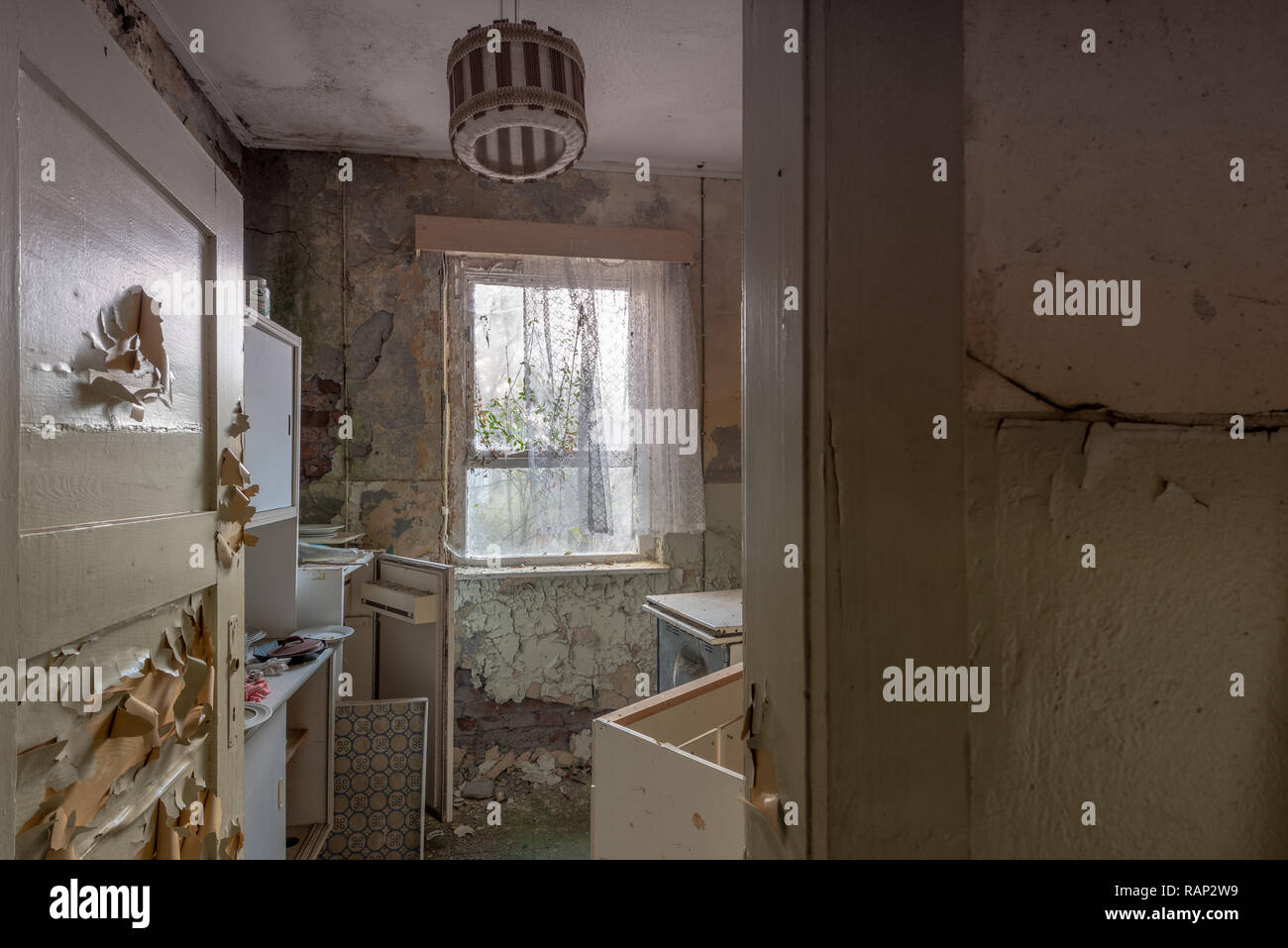 Prerow, Germany - December 30, 2018: View into the kitchen of one of the barracks of the former training centre of the Gesellschaft für Sport und Tech - Stock Image
