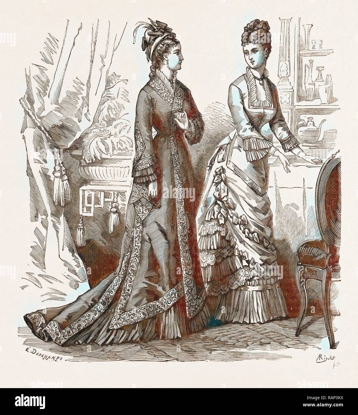 TOILETTES FOR VISITING AND CONCERTS, 19th CENTURY FASHION. Reimagined by Gibon. Classic art with a modern twist reimagined - Stock Image