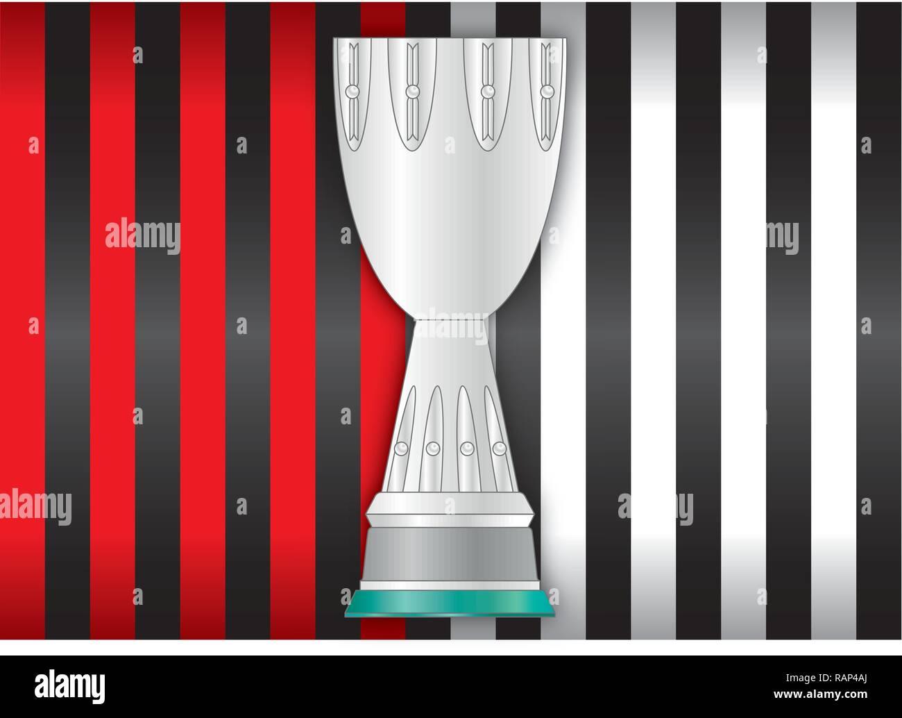 Milan VS Juventus, football teams flags and supercoppa silhouette, vector illustration - Stock Vector