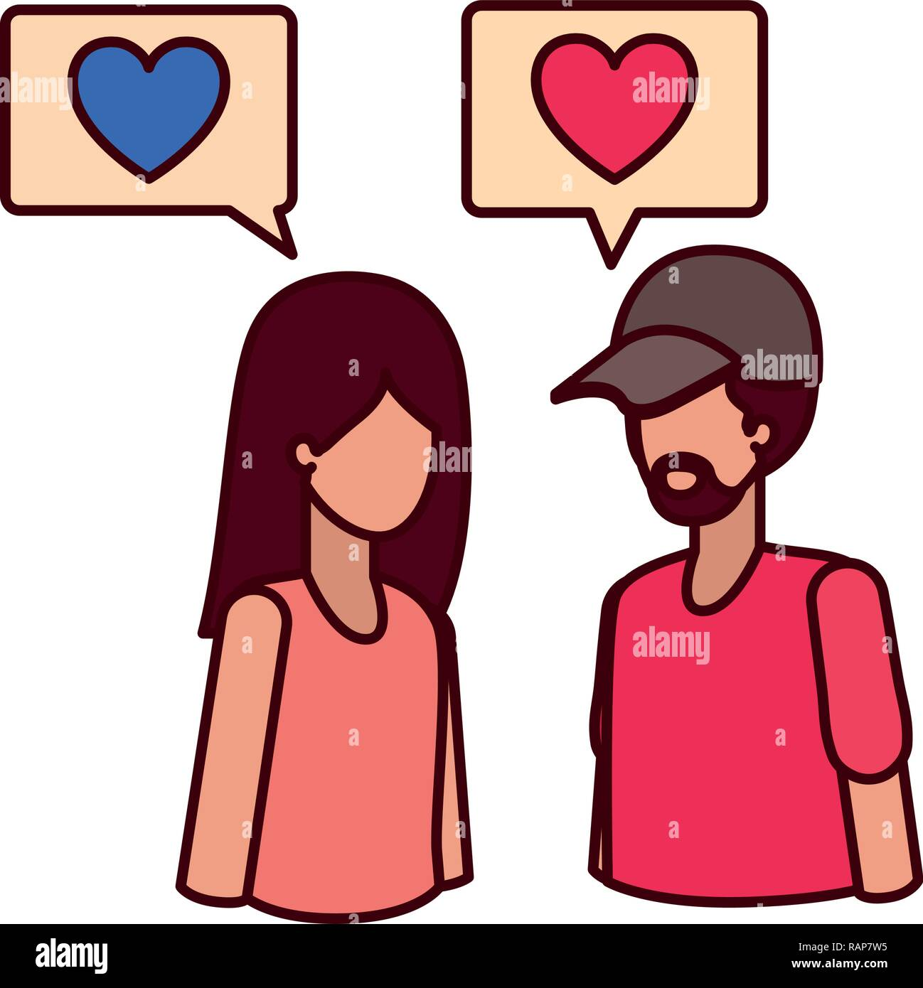 young couple with speech bubble avatar character - Stock Image