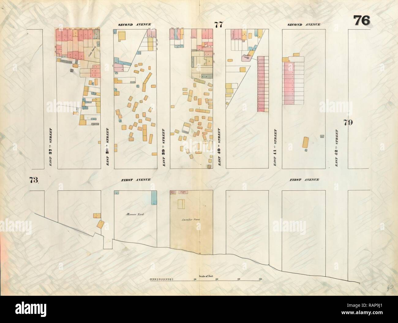 Plate 76: Map bounded by East 42nd Street, East River, East 37th Street, Second Avenue. 1857, 1862, Perris and Browne reimagined - Stock Image