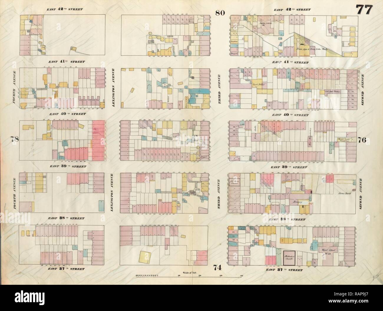 Plate 77: Map bounded by East 42nd Street, Second Avenue, East 37th Street, Fourth Avenue. 1857, 1862, Perris and reimagined - Stock Image