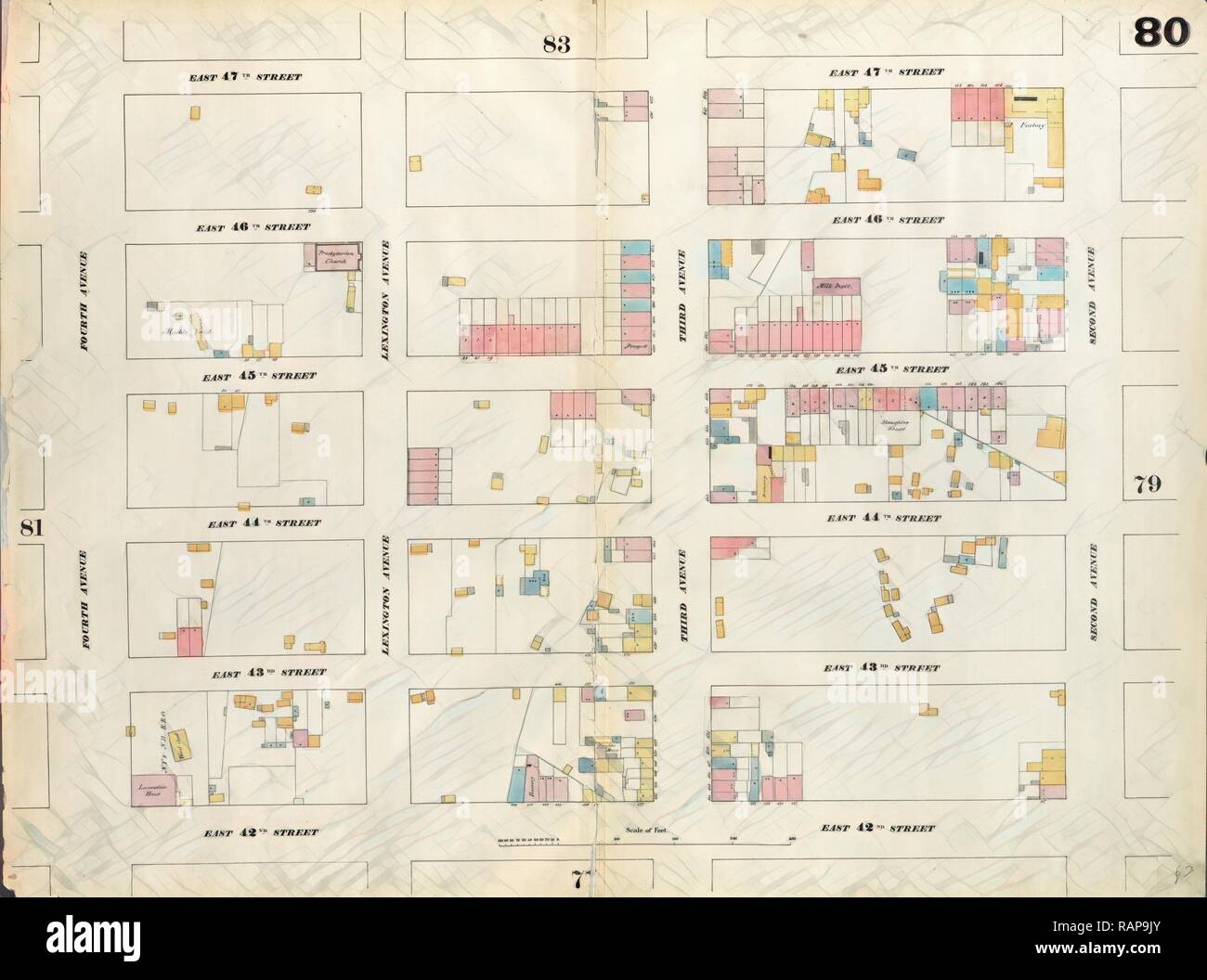 Plate 80: Map bounded by East 47th Street, Second Avenue, East 42nd Street, Fourth Avenue. 1857, 1862, Perris and reimagined - Stock Image